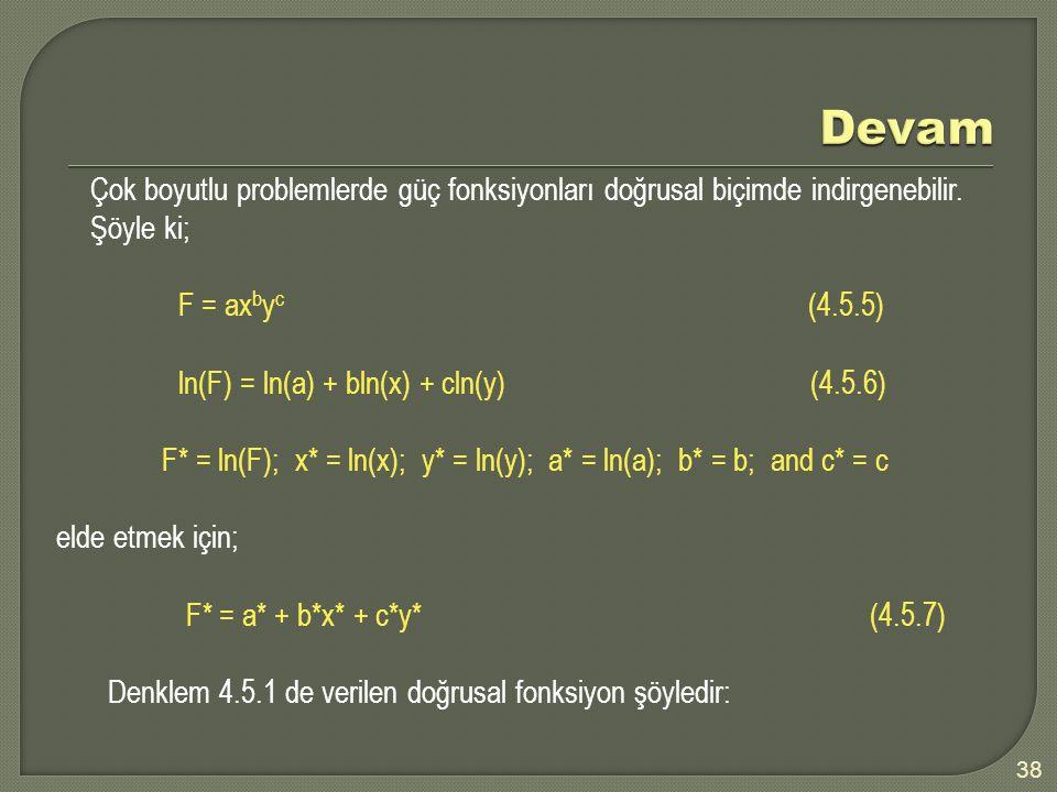 38 Çok boyutlu problemlerde güç fonksiyonları doğrusal biçimde indirgenebilir.