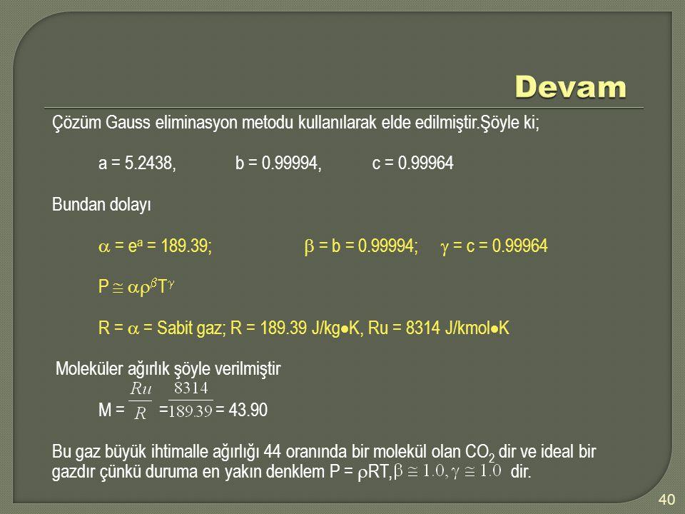 40 Çözüm Gauss eliminasyon metodu kullanılarak elde edilmiştir.Şöyle ki; a = 5.2438,b = 0.99994,c = 0.99964 Bundan dolayı  = e a = 189.39;  = b = 0.99994;  = c = 0.99964 P    T  R =  = Sabit gaz; R = 189.39 J/kg  K, Ru = 8314 J/kmol  K Moleküler ağırlık şöyle verilmiştir M = = = 43.90 Bu gaz büyük ihtimalle ağırlığı 44 oranında bir molekül olan CO 2 dir ve ideal bir gazdır çünkü duruma en yakın denklem P =  RT, dir.