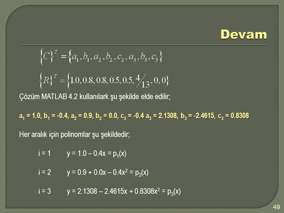 49 Çözüm MATLAB 4.2 kullanılark şu şekilde elde edilir; a 1 = 1.0, b 1 = -0.4, a 2 = 0.9, b 2 = 0.0, c 2 = -0.4 a 3 = 2.1308, b 3 = -2.4615, c 3 = 0.8308 Her aralık için polinomlar şu şekildedir; i = 1y = 1.0 – 0.4x = p 1 (x) i = 2y = 0.9 + 0.0x – 0.4x 2 = p 2 (x) i = 3y = 2.1308 – 2.4615x + 0.8308x 2 = p 3 (x)