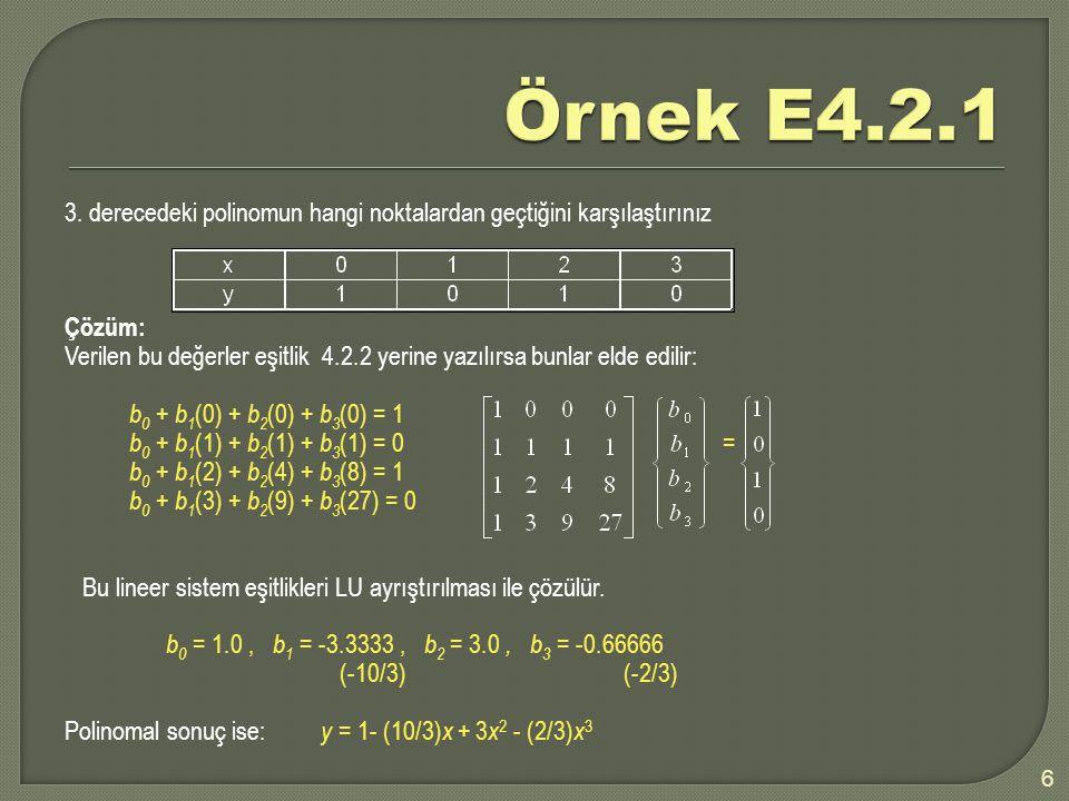 3. derecedeki polinomun hangi noktalardan geçtiğini karşılaştırınız Çözüm: Verilen bu değerler eşitlik 4.2.2 yerine yazılırsa bunlar elde edilir: b 0