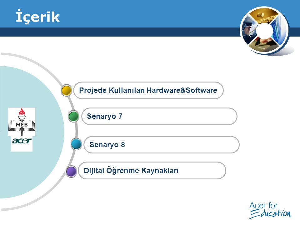 Company Logo İçerik Dijital Öğrenme Kaynakları Senaryo 7 Projede Kullanılan Hardware&Software Senaryo 8