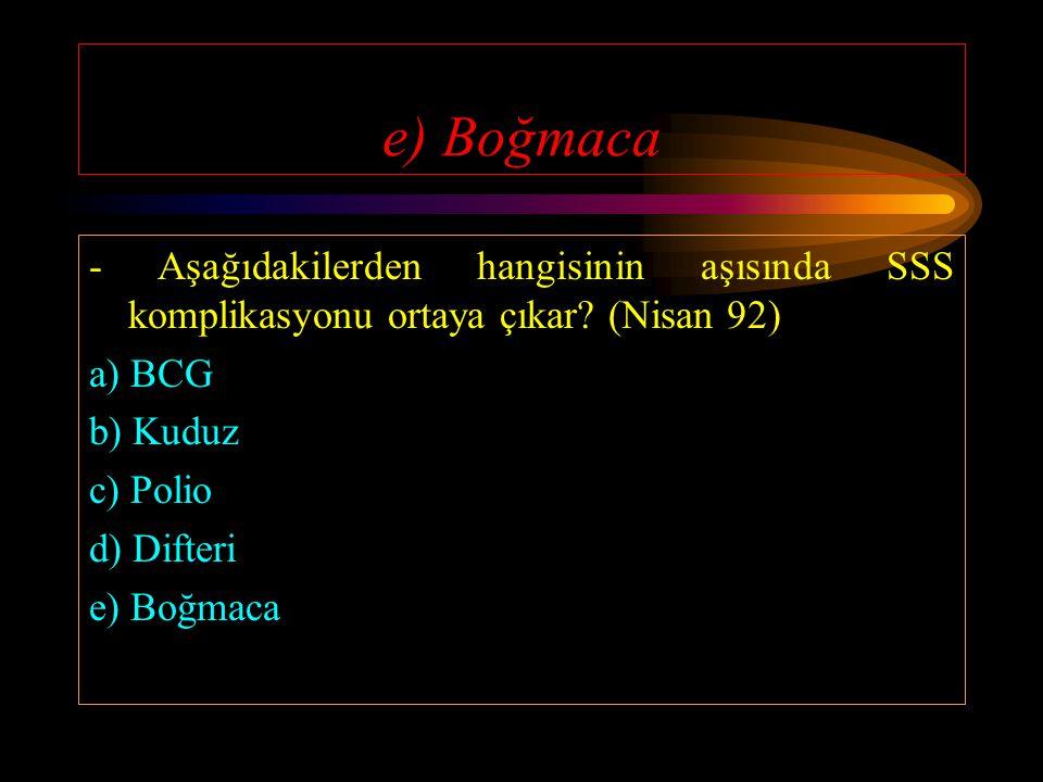 e) Boğmaca - Hangi aşı 7 yaşından sonra kontrendikedir? (Eylül 91) a) Difteri b) Kızamık c) Kızamıkçık d) Polio e) Boğmaca
