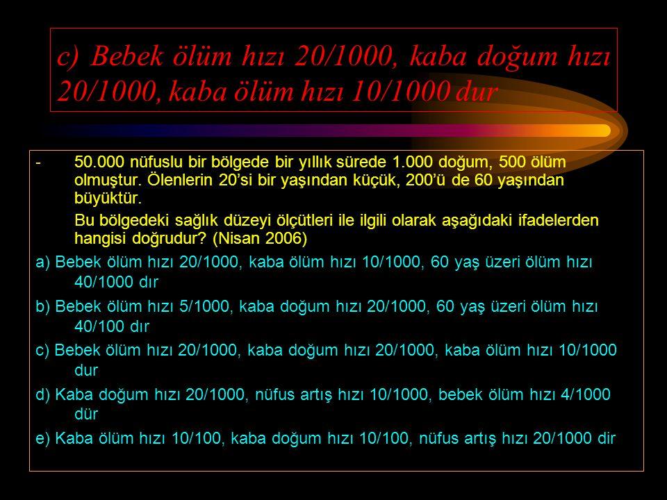 d) 0-365 gün ölen bebek sayısı / Aynı sürede meydana gelen ölüm doğum x 1000 - Aşağıdakilerden hangisi bebek ölüm hızını verir? (Eylül 2005) a) 0-28 g