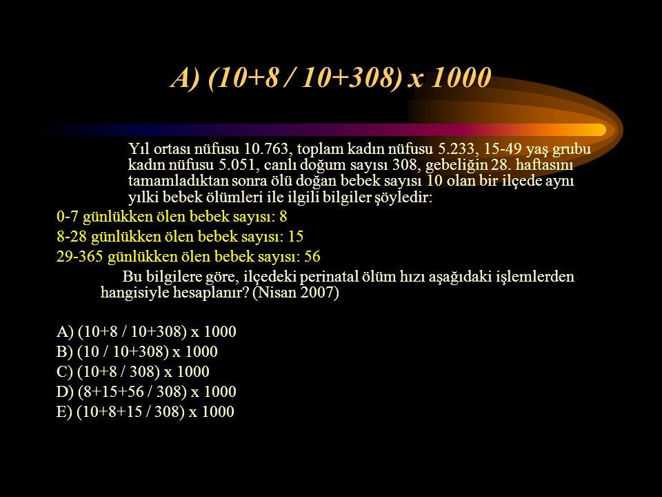 A) Tarama testinin duyarlılığı 100/1000 dir Bir tarama programında muayene edilen 1000 kişiden 110'u hastalık yönünden şüpheli bulunmuştur. İleri ince
