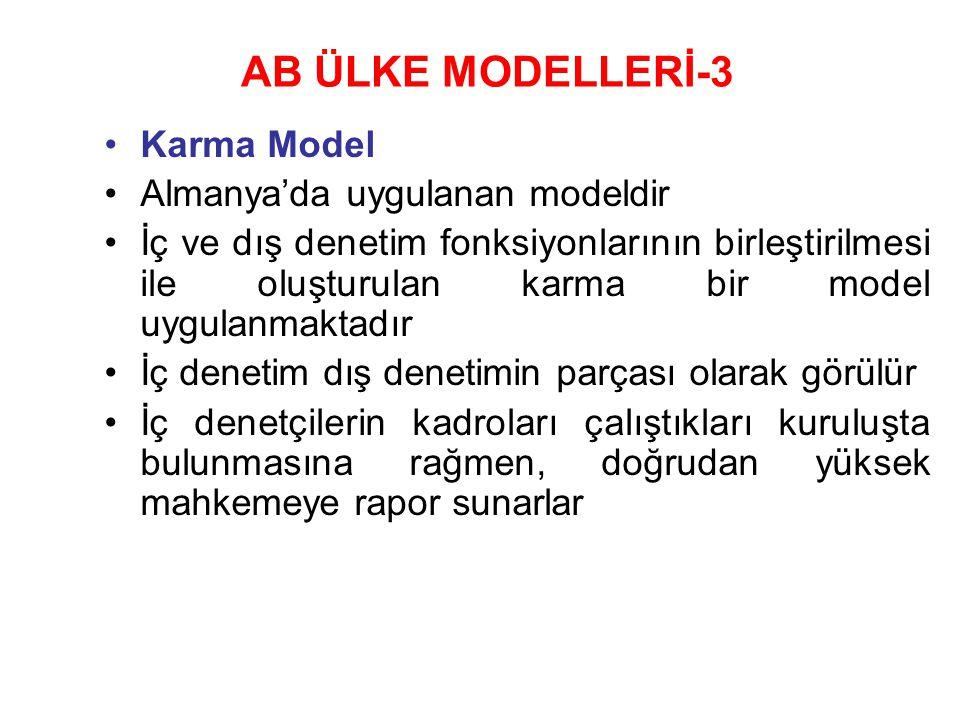 AB ÜLKE MODELLERİ-3 Karma Model Almanya'da uygulanan modeldir İç ve dış denetim fonksiyonlarının birleştirilmesi ile oluşturulan karma bir model uygulanmaktadır İç denetim dış denetimin parçası olarak görülür İç denetçilerin kadroları çalıştıkları kuruluşta bulunmasına rağmen, doğrudan yüksek mahkemeye rapor sunarlar
