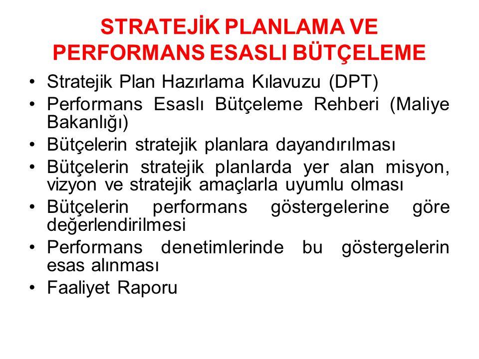 STRATEJİK PLANLAMA VE PERFORMANS ESASLI BÜTÇELEME Stratejik Plan Hazırlama Kılavuzu (DPT) Performans Esaslı Bütçeleme Rehberi (Maliye Bakanlığı) Bütçelerin stratejik planlara dayandırılması Bütçelerin stratejik planlarda yer alan misyon, vizyon ve stratejik amaçlarla uyumlu olması Bütçelerin performans göstergelerine göre değerlendirilmesi Performans denetimlerinde bu göstergelerin esas alınması Faaliyet Raporu