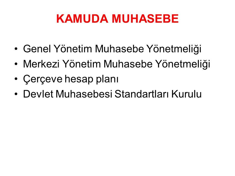 KAMUDA MUHASEBE Genel Yönetim Muhasebe Yönetmeliği Merkezi Yönetim Muhasebe Yönetmeliği Çerçeve hesap planı Devlet Muhasebesi Standartları Kurulu