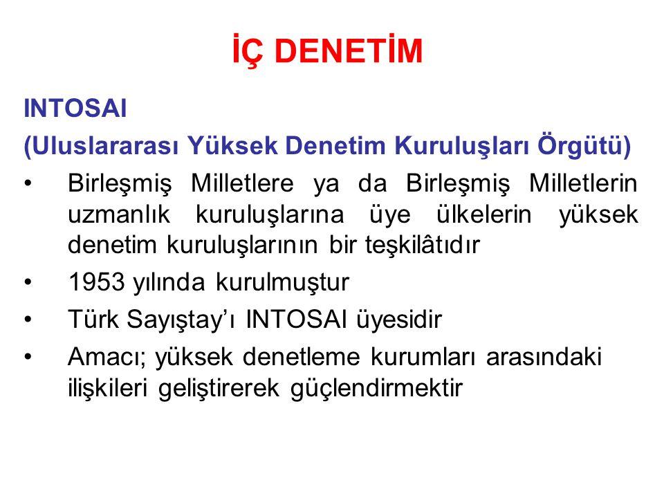 İÇ DENETİM INTOSAI (Uluslararası Yüksek Denetim Kuruluşları Örgütü) Birleşmiş Milletlere ya da Birleşmiş Milletlerin uzmanlık kuruluşlarına üye ülkelerin yüksek denetim kuruluşlarının bir teşkilâtıdır 1953 yılında kurulmuştur Türk Sayıştay'ı INTOSAI üyesidir Amacı; yüksek denetleme kurumları arasındaki ilişkileri geliştirerek güçlendirmektir