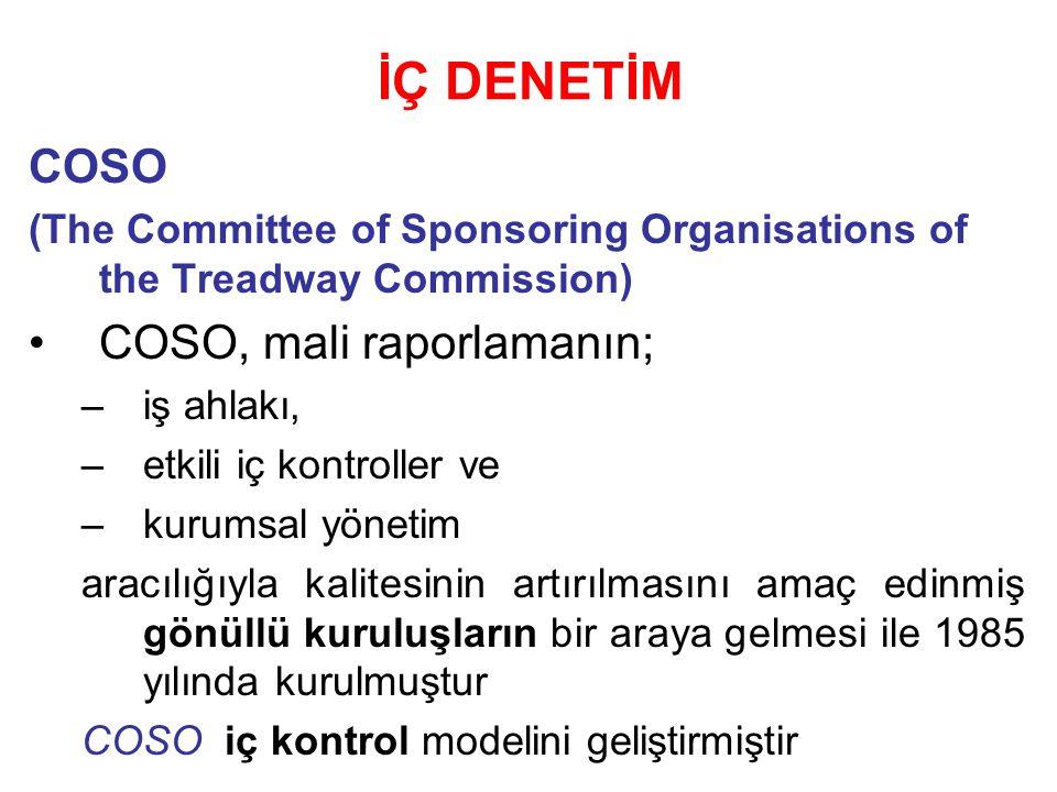 İÇ DENETİM COSO (The Committee of Sponsoring Organisations of the Treadway Commission) COSO, mali raporlamanın; –iş ahlakı, –etkili iç kontroller ve –kurumsal yönetim aracılığıyla kalitesinin artırılmasını amaç edinmiş gönüllü kuruluşların bir araya gelmesi ile 1985 yılında kurulmuştur COSO iç kontrol modelini geliştirmiştir
