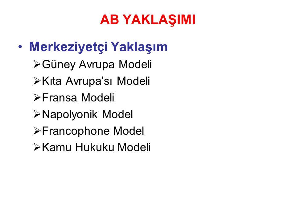 AB YAKLAŞIMI Adem-i Merkeziyetçi Yaklaşım  Kuzey Avrupa Modeli  Anglo-Sakson Modeli  Anglophone Model  Nordic Model  Westminster Model  Yönetim Sorumluluğu Modeli