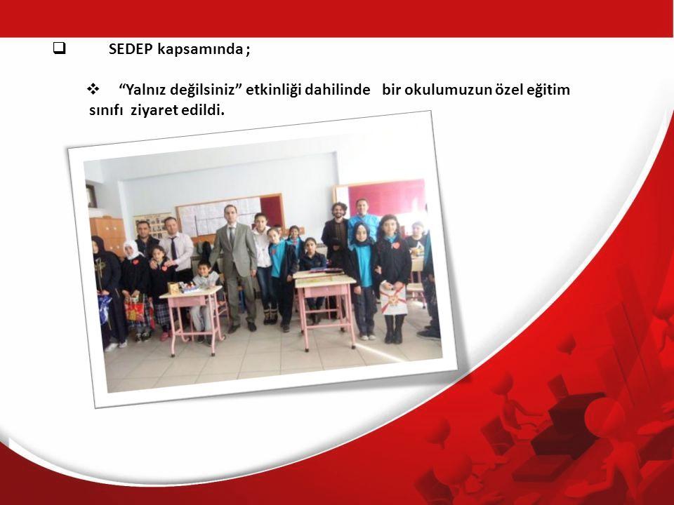  SEDEP kapsamında ;  Yalnız değilsiniz etkinliği dahilinde bir okulumuzun özel eğitim sınıfı ziyaret edildi.