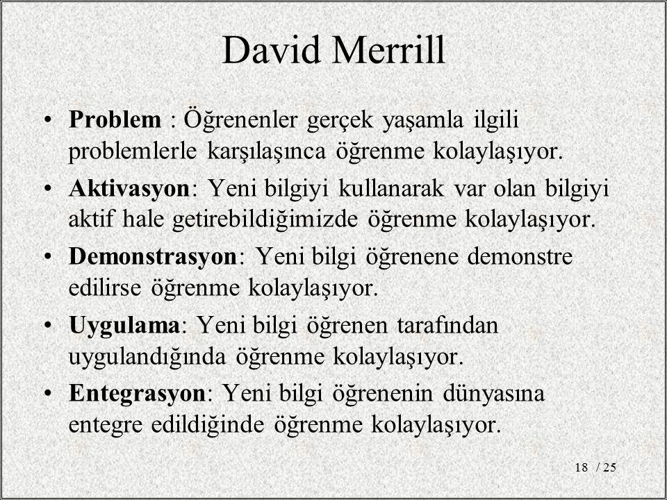 David Merrill Problem : Öğrenenler gerçek yaşamla ilgili problemlerle karşılaşınca öğrenme kolaylaşıyor. Aktivasyon: Yeni bilgiyi kullanarak var olan