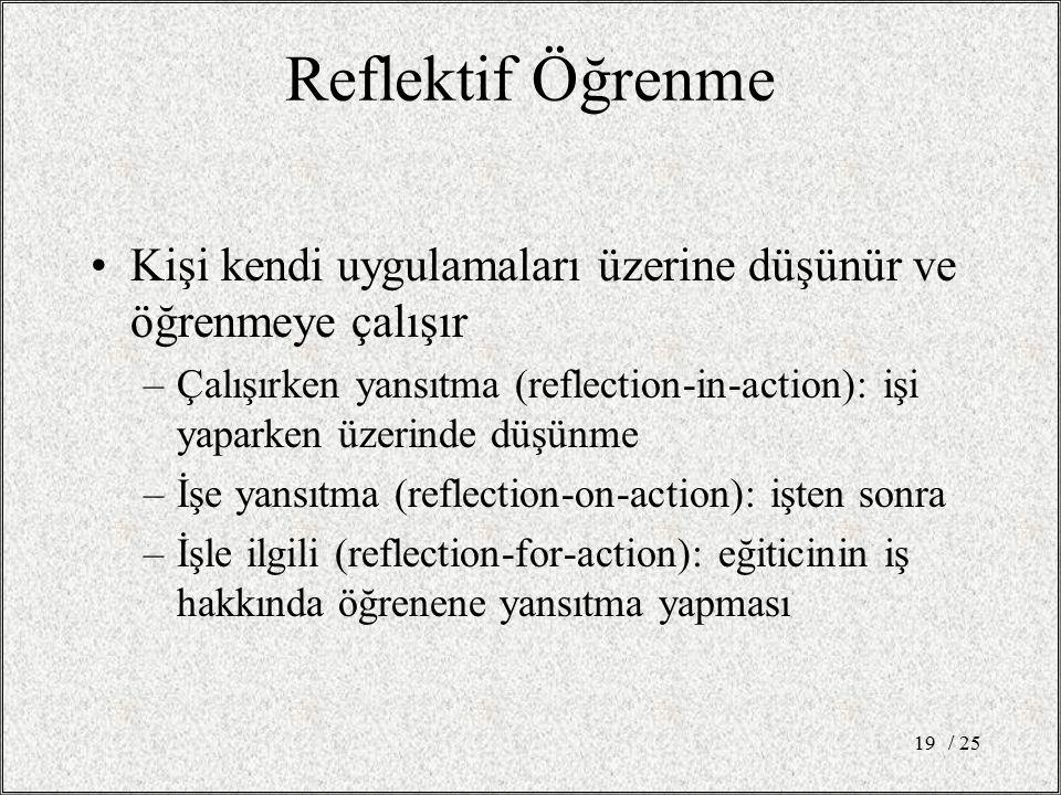 Reflektif Öğrenme Kişi kendi uygulamaları üzerine düşünür ve öğrenmeye çalışır –Çalışırken yansıtma (reflection-in-action): işi yaparken üzerinde düşü