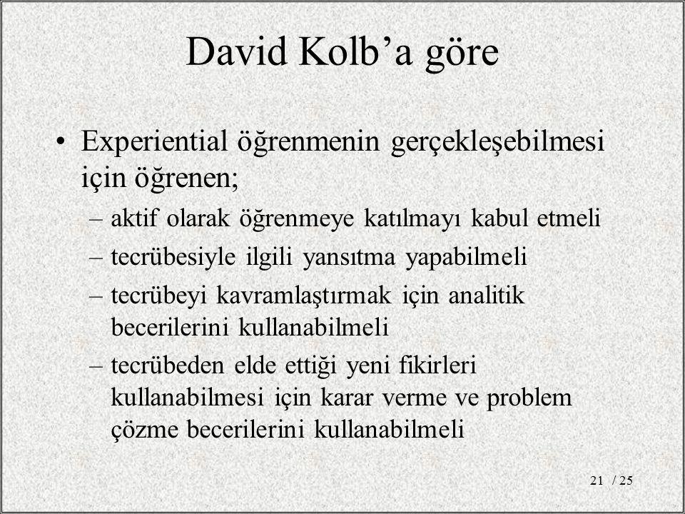 David Kolb'a göre Experiential öğrenmenin gerçekleşebilmesi için öğrenen; –aktif olarak öğrenmeye katılmayı kabul etmeli –tecrübesiyle ilgili yansıtma