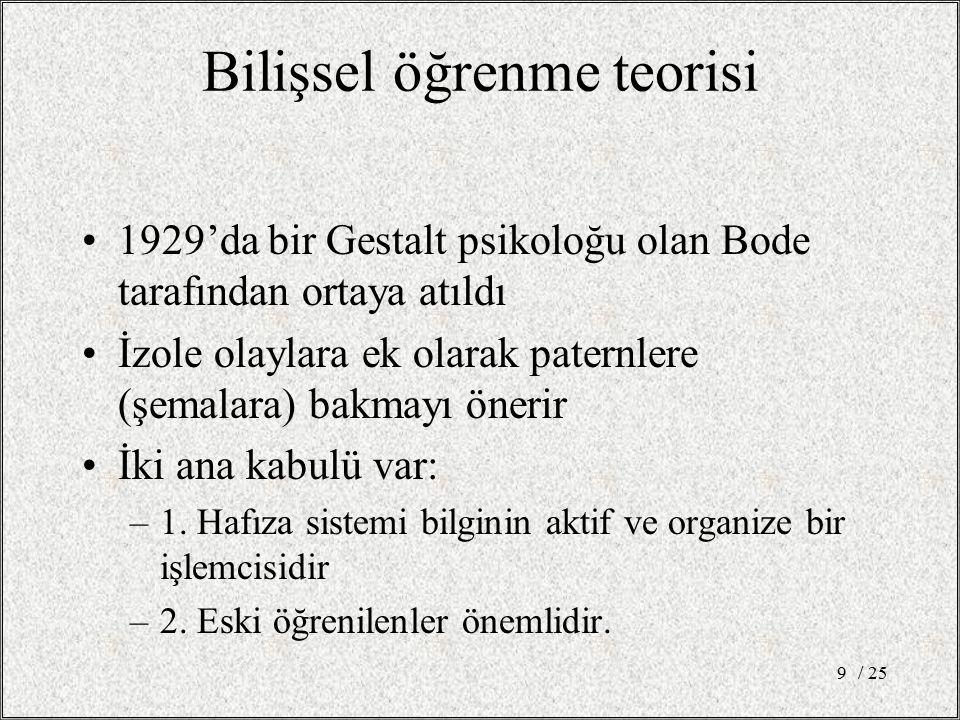 Bilişsel öğrenme teorisi 1929'da bir Gestalt psikoloğu olan Bode tarafından ortaya atıldı İzole olaylara ek olarak paternlere (şemalara) bakmayı öneri