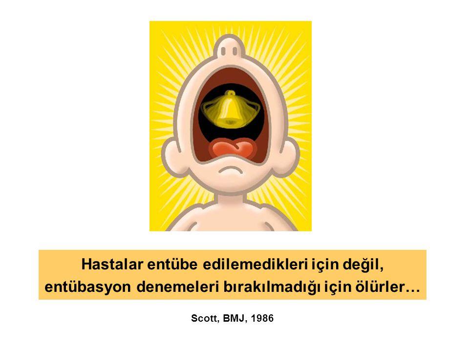 Hastalar entübe edilemedikleri için değil, entübasyon denemeleri bırakılmadığı için ölürler… Scott, BMJ, 1986