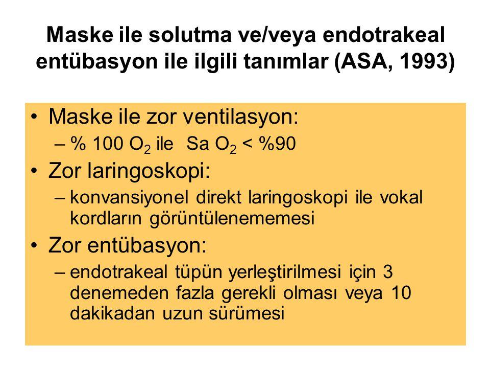 Maske ile solutma ve/veya endotrakeal entübasyon ile ilgili tanımlar (ASA, 1993) Maske ile zor ventilasyon: –% 100 O 2 ile Sa O 2 < %90 Zor laringoskopi: –konvansiyonel direkt laringoskopi ile vokal kordların görüntülenememesi Zor entübasyon: –endotrakeal tüpün yerleştirilmesi için 3 denemeden fazla gerekli olması veya 10 dakikadan uzun sürümesi