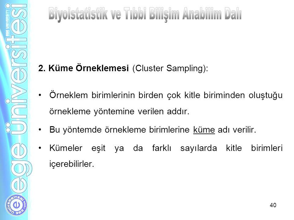 40 2. Küme Örneklemesi (Cluster Sampling): Örneklem birimlerinin birden çok kitle biriminden oluştuğu örnekleme yöntemine verilen addır. Bu yöntemde ö
