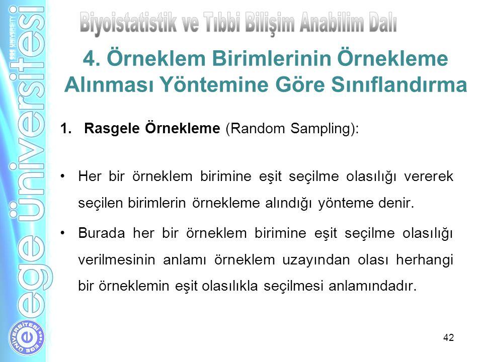 42 4. Örneklem Birimlerinin Örnekleme Alınması Yöntemine Göre Sınıflandırma 1.Rasgele Örnekleme (Random Sampling): Her bir örneklem birimine eşit seçi