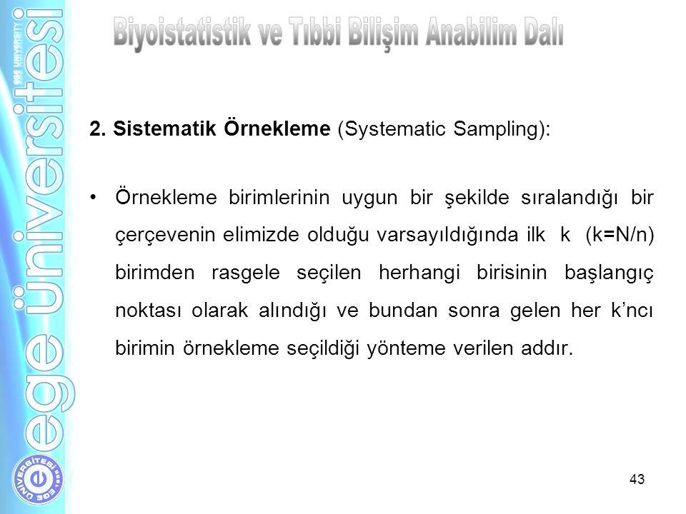 43 2. Sistematik Örnekleme (Systematic Sampling): Örnekleme birimlerinin uygun bir şekilde sıralandığı bir çerçevenin elimizde olduğu varsayıldığında