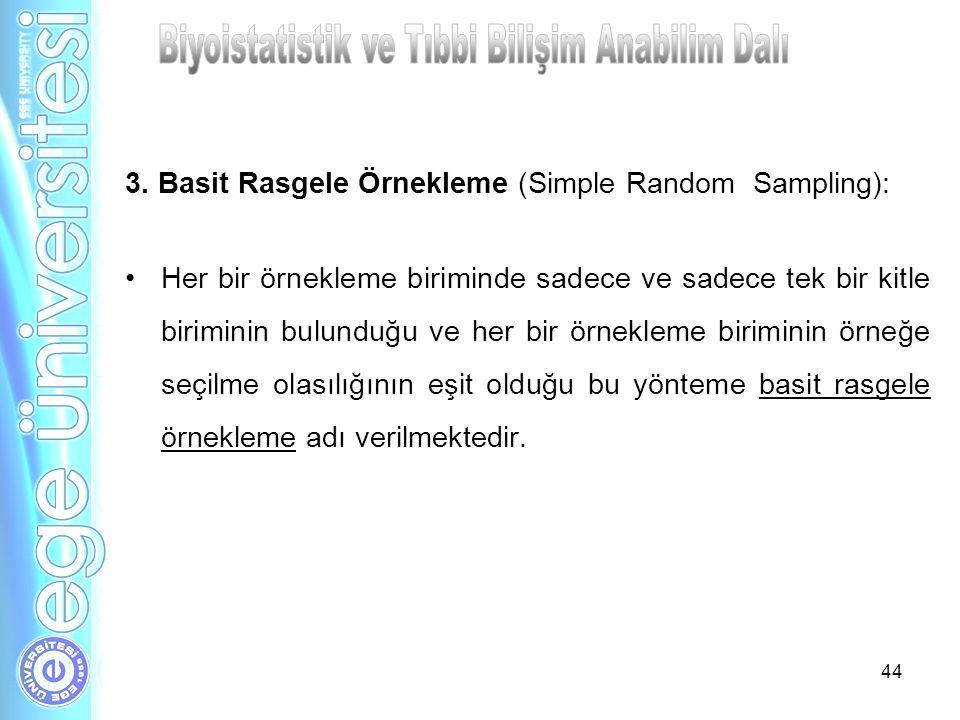 44 3. Basit Rasgele Örnekleme (Simple Random Sampling): Her bir örnekleme biriminde sadece ve sadece tek bir kitle biriminin bulunduğu ve her bir örne