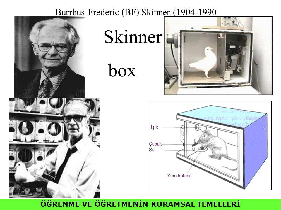 ÖĞRENME VE ÖĞRETMENİN KURAMSAL TEMELLERİ Skinner box Burrhus Frederic (BF) Skinner (1904-1990