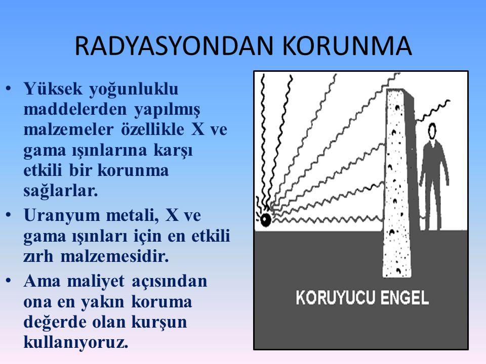 RADYASYONDAN KORUNMA Yüksek yoğunluklu maddelerden yapılmış malzemeler özellikle X ve gama ışınlarına karşı etkili bir korunma sağlarlar. Uranyum meta