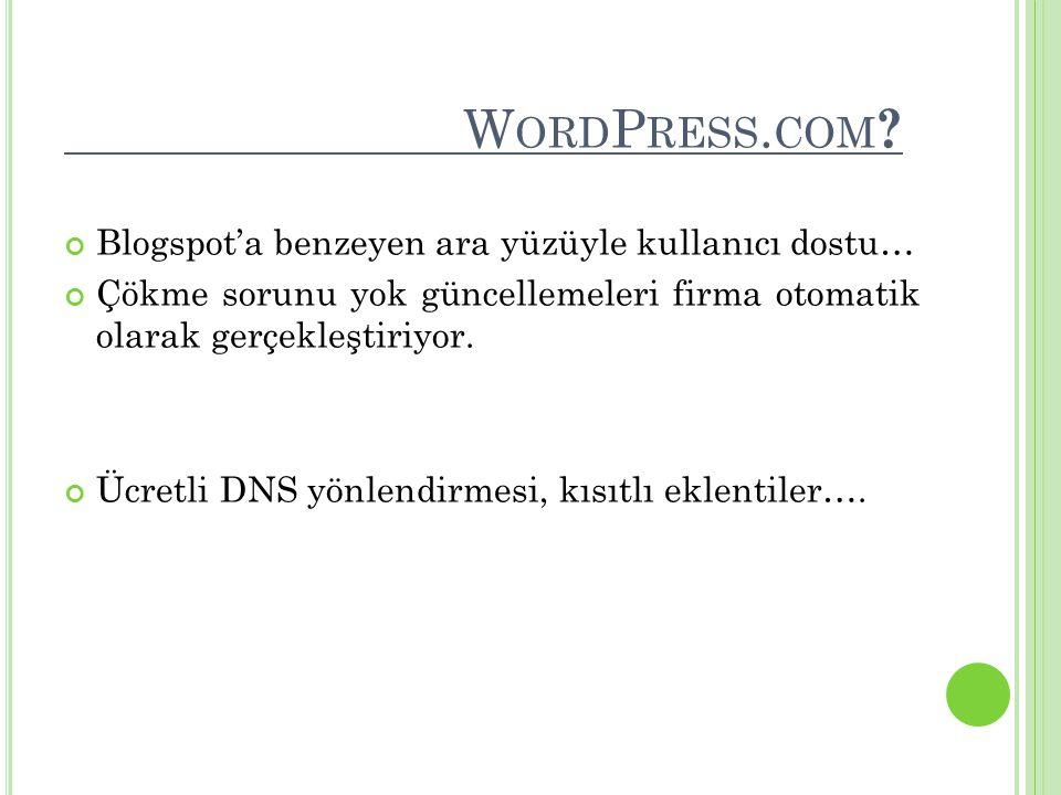 W ORD P RESS. COM ? Blogspot'a benzeyen ara yüzüyle kullanıcı dostu… Çökme sorunu yok güncellemeleri firma otomatik olarak gerçekleştiriyor. Ücretli D