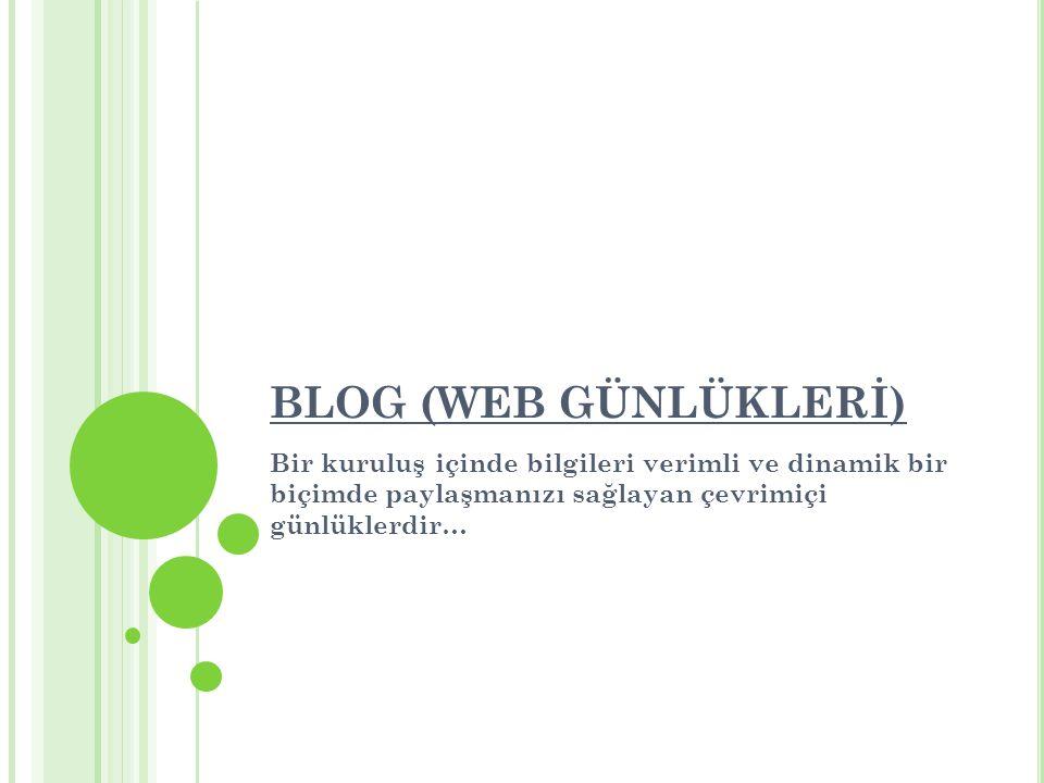 Bloglar birçok konudan farklı içerik ve resmi içerisinde barındırabilirler.