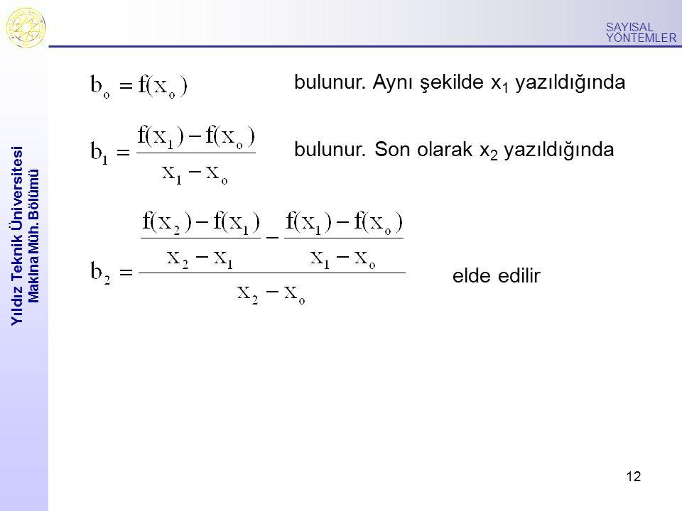 12 Yıldız Teknik Üniversitesi Makina Müh. Bölümü SAYISAL YÖNTEMLER bulunur. Aynı şekilde x 1 yazıldığında bulunur. Son olarak x 2 yazıldığında elde ed