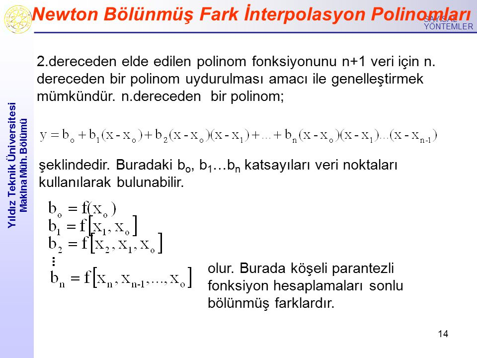 14 Yıldız Teknik Üniversitesi Makina Müh. Bölümü SAYISAL YÖNTEMLER Newton Bölünmüş Fark İnterpolasyon Polinomları 2.dereceden elde edilen polinom fonk