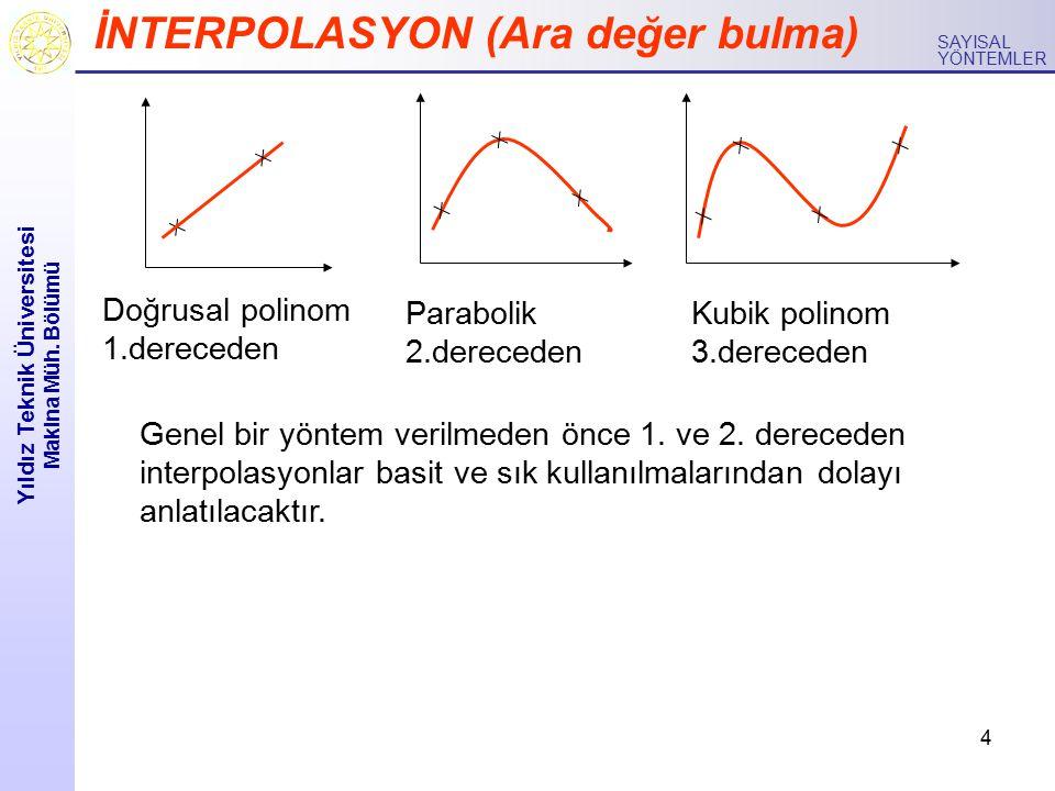 4 Yıldız Teknik Üniversitesi Makina Müh. Bölümü SAYISAL YÖNTEMLER İNTERPOLASYON (Ara değer bulma) Doğrusal polinom 1.dereceden Parabolik 2.dereceden K