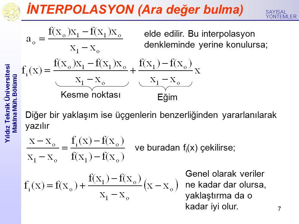 7 Yıldız Teknik Üniversitesi Makina Müh. Bölümü SAYISAL YÖNTEMLER İNTERPOLASYON (Ara değer bulma) elde edilir. Bu interpolasyon denkleminde yerine kon