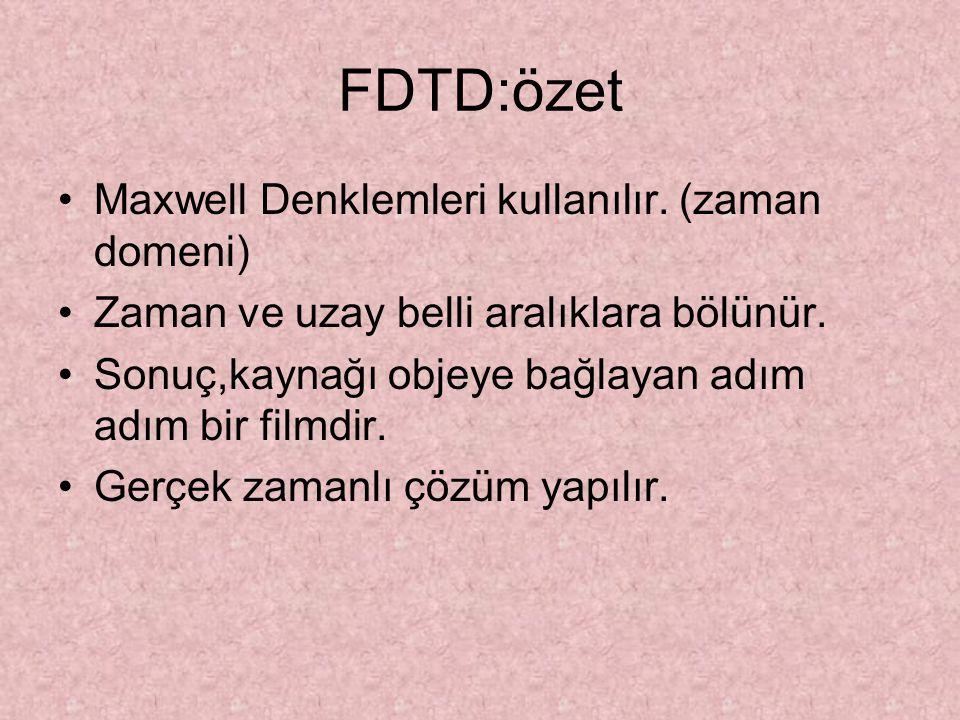FDTD:özet Maxwell Denklemleri kullanılır. (zaman domeni) Zaman ve uzay belli aralıklara bölünür. Sonuç,kaynağı objeye bağlayan adım adım bir filmdir.