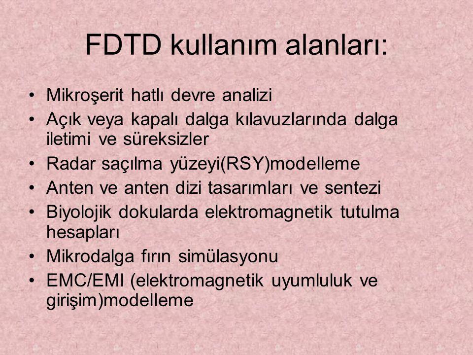 FDTD kullanım alanları: Mikroşerit hatlı devre analizi Açık veya kapalı dalga kılavuzlarında dalga iletimi ve süreksizler Radar saçılma yüzeyi(RSY)mod