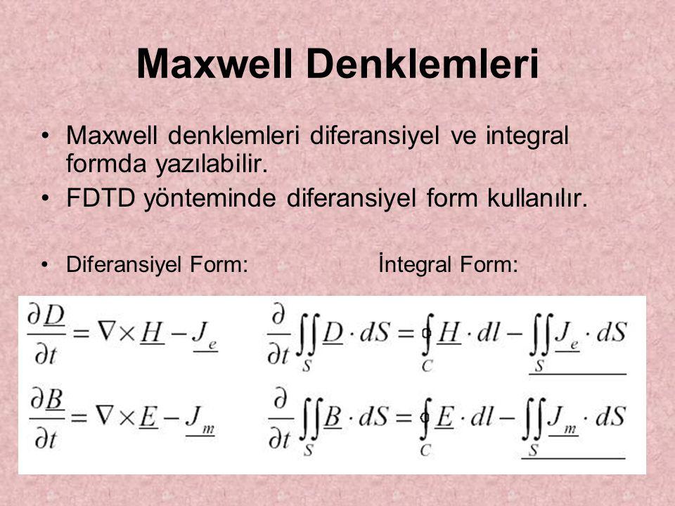 Maxwell Denklemleri Maxwell denklemleri diferansiyel ve integral formda yazılabilir. FDTD yönteminde diferansiyel form kullanılır. Diferansiyel Form:İ