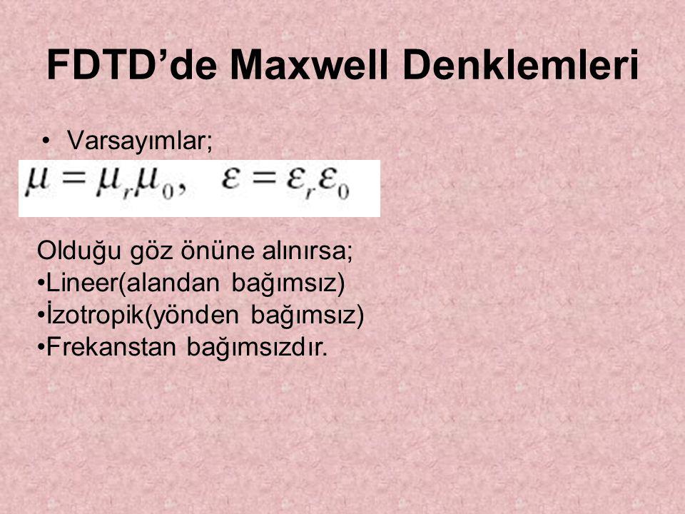 FDTD'de Maxwell Denklemleri Varsayımlar; Olduğu göz önüne alınırsa; Lineer(alandan bağımsız) İzotropik(yönden bağımsız) Frekanstan bağımsızdır.