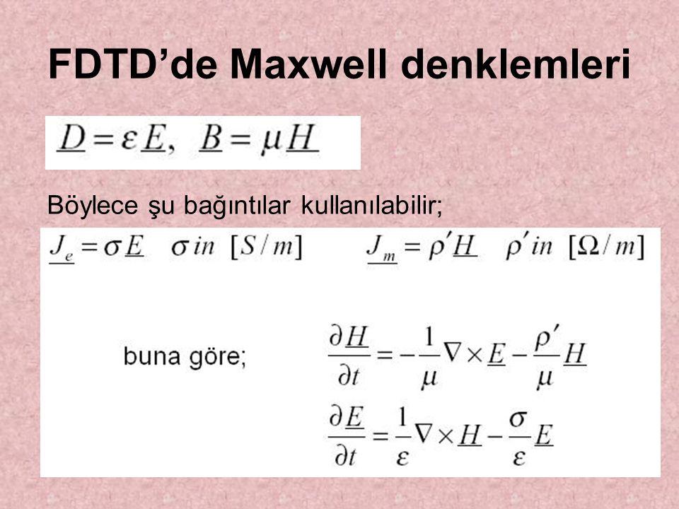 FDTD'de Maxwell denklemleri Böylece şu bağıntılar kullanılabilir;