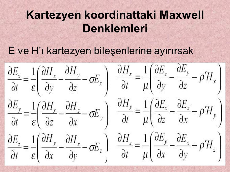 Kartezyen koordinattaki Maxwell Denklemleri E ve H'ı kartezyen bileşenlerine ayırırsak