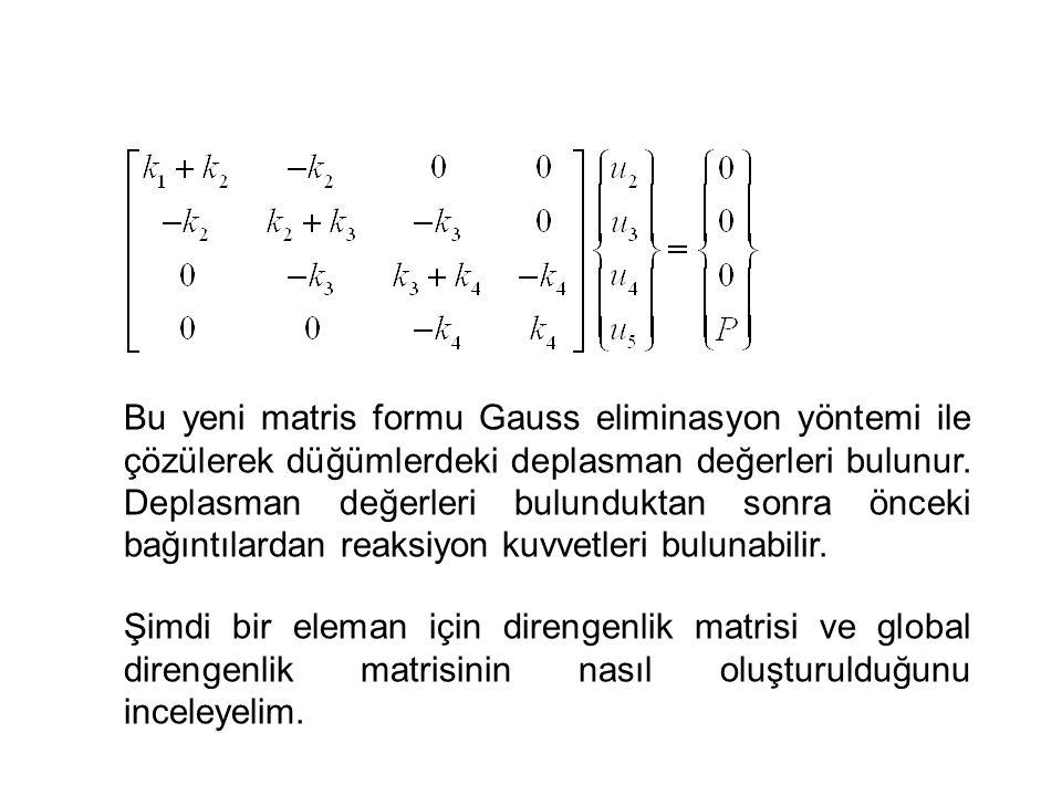 Bu yeni matris formu Gauss eliminasyon yöntemi ile çözülerek düğümlerdeki deplasman değerleri bulunur. Deplasman değerleri bulunduktan sonra önceki ba