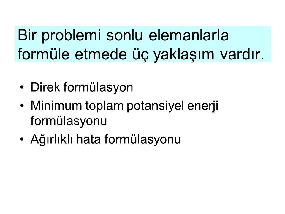 Bir problemi sonlu elemanlarla formüle etmede üç yaklaşım vardır. Direk formülasyon Minimum toplam potansiyel enerji formülasyonu Ağırlıklı hata formü