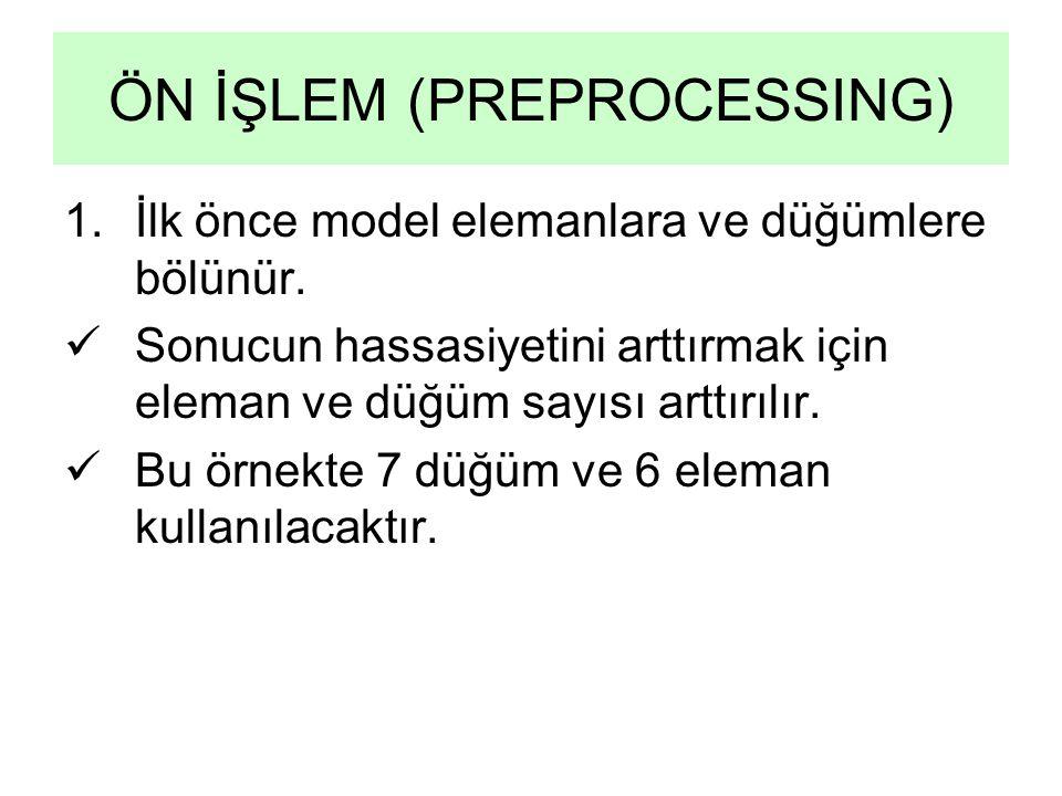 ÖN İŞLEM (PREPROCESSING) 1.İlk önce model elemanlara ve düğümlere bölünür. Sonucun hassasiyetini arttırmak için eleman ve düğüm sayısı arttırılır. Bu