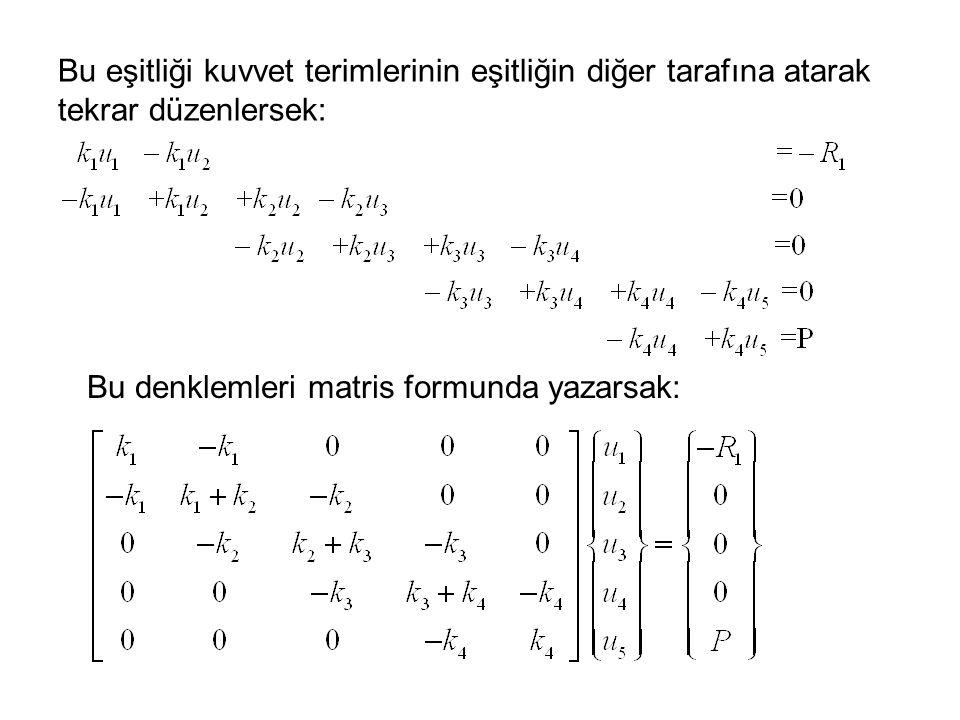 Bu eşitliği kuvvet terimlerinin eşitliğin diğer tarafına atarak tekrar düzenlersek: Bu denklemleri matris formunda yazarsak: