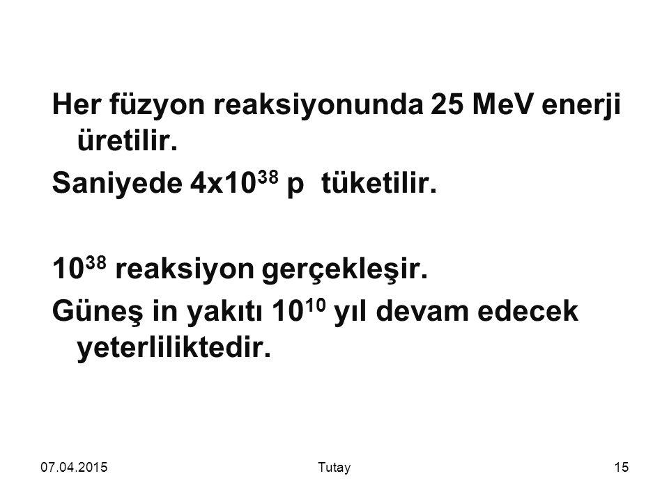 07.04.2015Tutay15 Her füzyon reaksiyonunda 25 MeV enerji üretilir.
