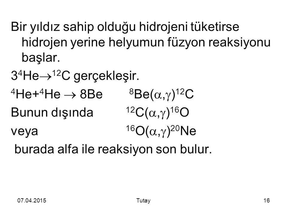07.04.2015Tutay16 Bir yıldız sahip olduğu hidrojeni tüketirse hidrojen yerine helyumun füzyon reaksiyonu başlar.
