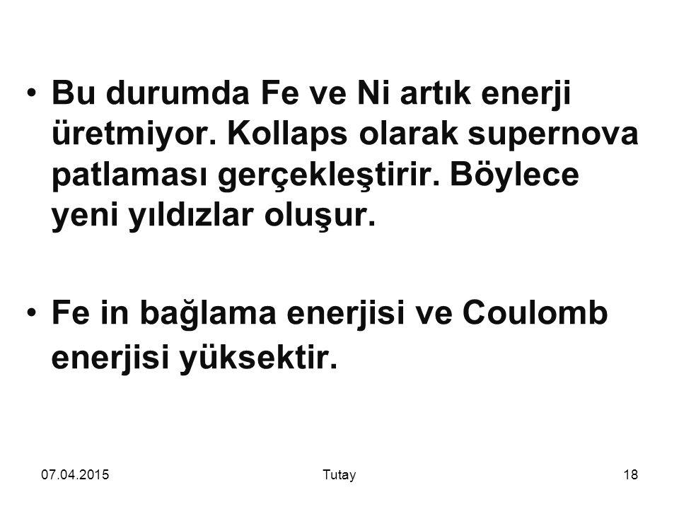 07.04.2015Tutay18 Bu durumda Fe ve Ni artık enerji üretmiyor.