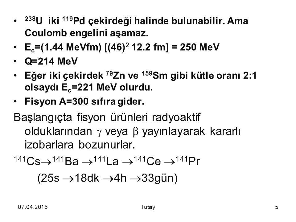 07.04.2015Tutay5 238 U iki 119 Pd çekirdeği halinde bulunabilir.