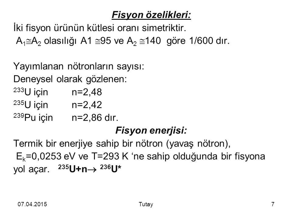 07.04.2015Tutay7 Fisyon özelikleri: İki fisyon ürünün kütlesi oranı simetriktir.