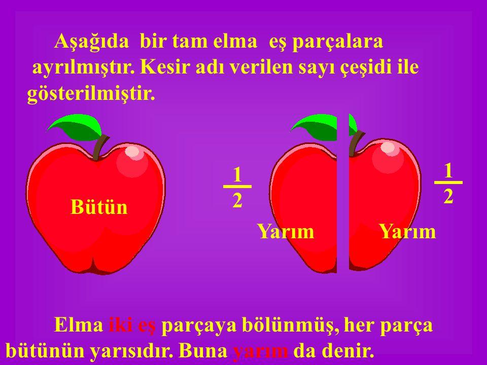 Aşağıda bir tam elma eş parçalara ayrılmıştır.Kesir adı verilen sayı çeşidi ile gösterilmiştir.