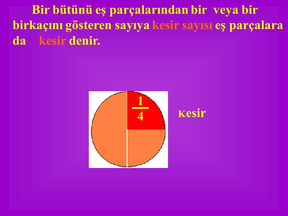 Yandaki şekilde bir bütün dört eş parçaya bölünmüş ok işareti ile gösterilen kesir bütünün biçiminde yazılır Bir bölü dört veya Dörtte bir diye okunur.